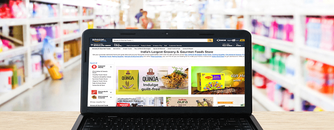 Amazon India is helping nearby shops sell staple goods on the web