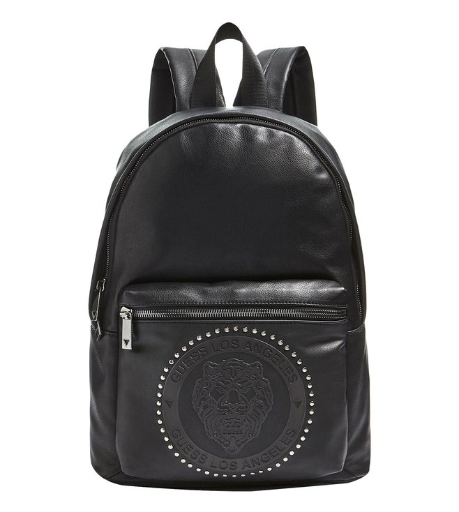 GUESS Black Lion Heart Medium Studded Backpack