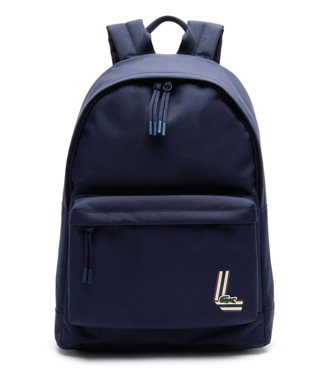Lacoste Navy Neocroc Fantaisie Large Tricolor Badge Canvas Backpack